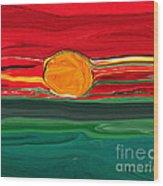 Blazing Red Sky Wood Print