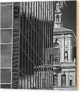 Blending Architecture Black And White Wood Print