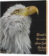 Blessed Is The Nation Wood Print