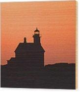 Block Island North West Lighthouse Sunset Wood Print