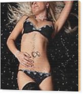 Blond In Black Lingerie Covered In Diamonds Wood Print