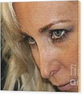 Blond Woman Strict Wood Print