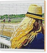 Blonde At Racetrack Wood Print