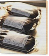 Blood Bags Wood Print