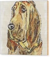 Bloodhound-watercolor Wood Print