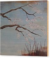 Blossoms Over The Lake Wood Print