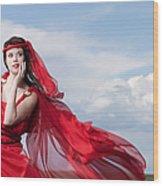 Blown Away Woman In Red Series Wood Print