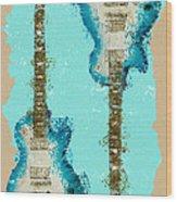 Blue Abstract Guitars Wood Print