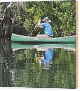 Blue Amongst The Greens - Canoeing On The St. Marks Wood Print