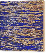 Blue And Gold Wood Print