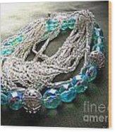 Blue And Silver Bead Bracelet Wood Print