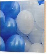 Blue And White Balloons  Wood Print