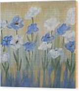 Blue And White Flora Wood Print