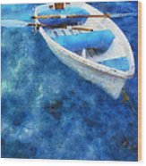 Blue And White. Lonely Boat. Impressionism Wood Print
