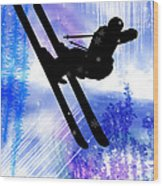Blue And White Splashes With Ski Jump Wood Print