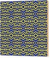 Blue And Yellow Chevron Pattern Wood Print