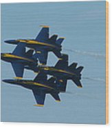 Blue Angels Diamond From Right Wood Print by Samuel Sheats