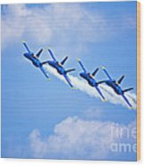 Blue Angels On Flyby Wood Print