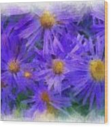Blue Asters - Watercolor Wood Print