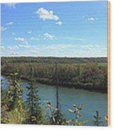 Blue Autumn Waters Wood Print