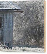 Blue Barn Winter Wood Print