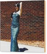 Blue Beaded Dress Wood Print