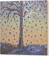 Blue-blossomed Wishing Tree Wood Print