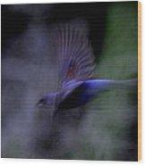 Blue Blur Wood Print