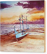 Blue Boat On The Shore Wood Print