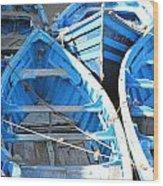 Blue Boats Wood Print