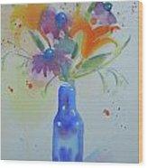 Blue Bottle Bouquet Wood Print