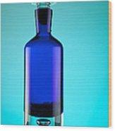 Blue Bottle Wood Print by Michelle Wiarda