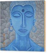Blue Buddha Wood Print