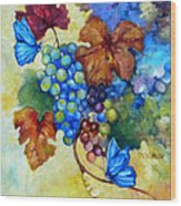 Blue Butterflies And Grapevine  Wood Print