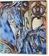 Blue Carousel Merry Go Round Horses Wood Print