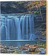Blue Cascade Falls Wood Print