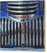 Blue Chevy Pick-up Grill Wood Print