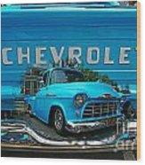 Blue Chevy Pickup Dbl. Exposure Wood Print