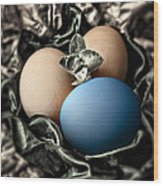 Blue Classy Easter Egg Wood Print