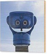 Blue Coin-operated Binoculars Wood Print
