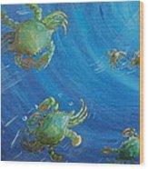 Blue Crab Run Wood Print