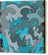 Blue Creatures Wood Print by Barbara Marcus