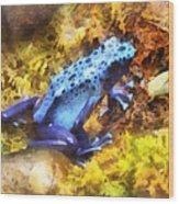 Blue Dart Frog Wood Print