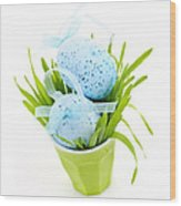 Blue Easter Eggs And Green Grass Wood Print