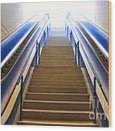 Blue Escalators Wood Print