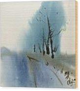 Blue Fall Wood Print