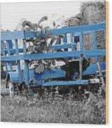Blue Farm Wagon Wood Print