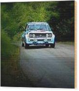 Blue Fiat Abarth Wood Print