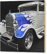 Blue Flames Wood Print
