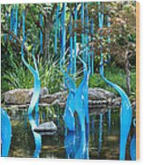 Blue Flamingos  Wood Print